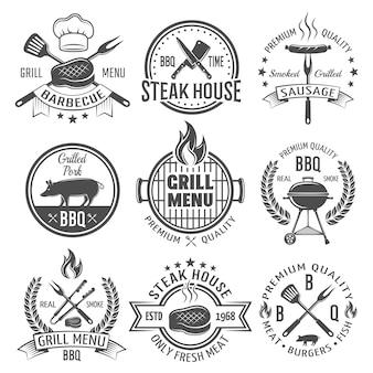 Emblemas planos gráficos bbq