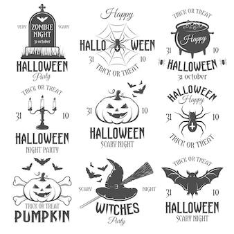 Emblemas retro de halloween en blanco y negro