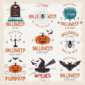 Emblemas retro de halloween