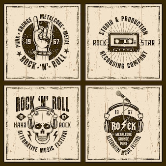 Emblemas retro de la música rock