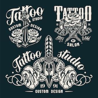 Emblemas de salón de tatuaje monocromo vintage