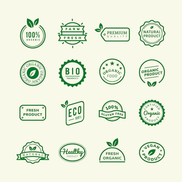 Emblemas de sello de producto orgánico establece ilustración
