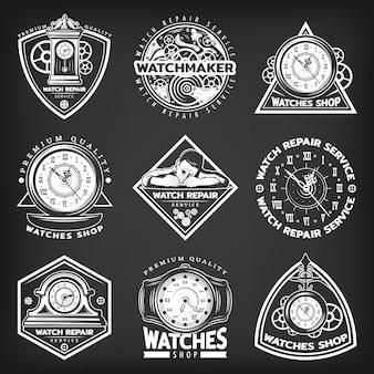 Emblemas de servicio de reparación de relojes blancos vintage