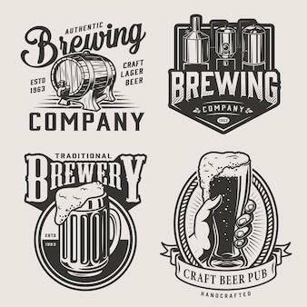 Emblemas vintage de cervecería monocromática