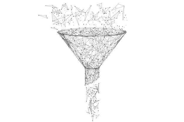 Embudo de estructura metálica de baja poli negro aislado sobre fondo blanco línea de puré abstracta y origami de punto