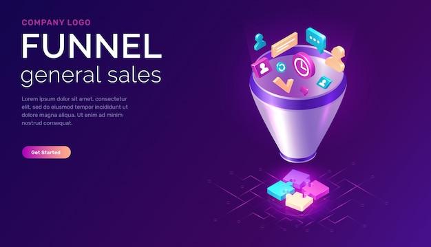 Embudo de ventas, concepto isométrico