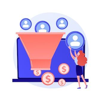 Embudo de ventas. generación de leads, gestión de clientes, estrategia de marketing. elemento de diseño plano de conversión de comercio. plan de venta. ilustración de concepto de filtro de clientes