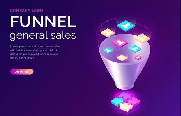 Embudo de ventas, ilustración del concepto isométrico
