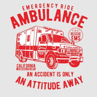 Emergencia ambulancia mano dibujo vectorial