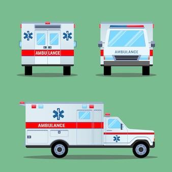 Emergencia de ambulancia. vista posterior, frontal y lateral. transporte de ambulancia en coche. ambulancia automática de evacuación médica de emergencia. coche de ambulancia de servicio de alta calidad en estilo plano. ilustración