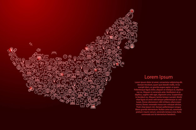 Emiratos árabes unidos, mapa de los emiratos árabes unidos de rojo y brillante conjunto de patrones de iconos de estrellas de concepto de análisis de seo o desarrollo, negocio. ilustración vectorial.