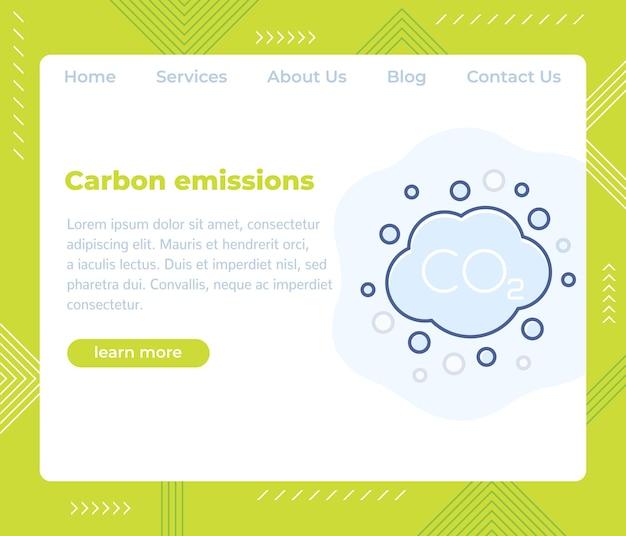 Emisiones de carbono, plantilla de vector de sitio web