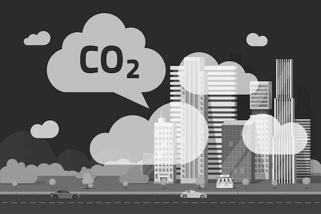 Emisiones de co2 por ilustración de la gran ciudad en estilo de dibujos animados plana