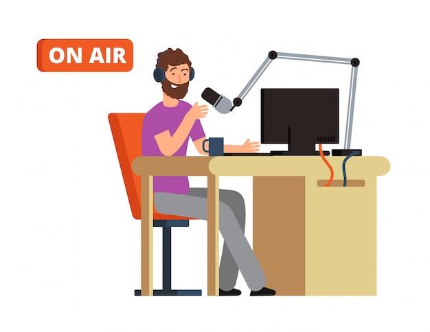 Emitida en estudio de radio. persona de radiodifusión con micrófono y auriculares. ilustración vectorial de dibujos animados