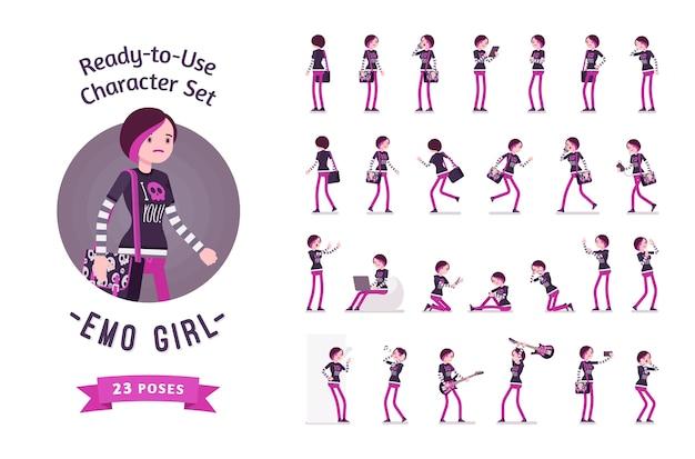 Emo girl varias poses y emociones