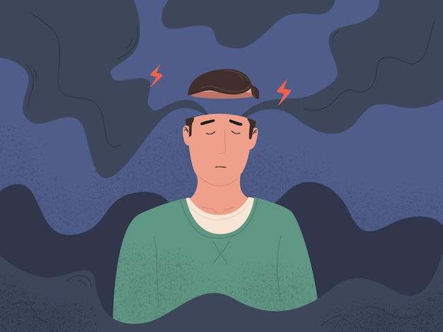 Emoción estrés mente humana salud intelecto y medicina mental y neurología ilustración