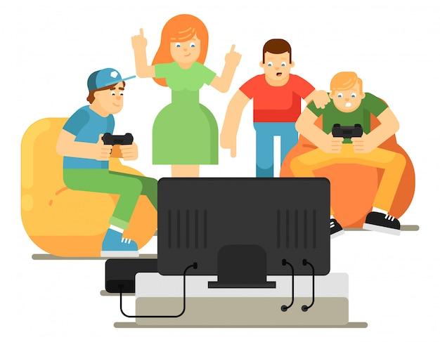 Emocionales jóvenes jugando en videojuegos