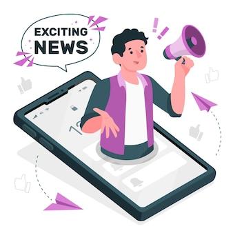 Emocionante ilustración del concepto de noticias