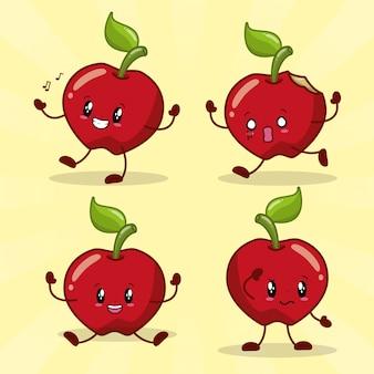 Emociones kawaii frset de 4 manzanas kawaii con diferente expresión feliz