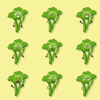 Emociones negativas del brócoli. conjunto de caracteres de estilo de dibujos animados vector de ilustración