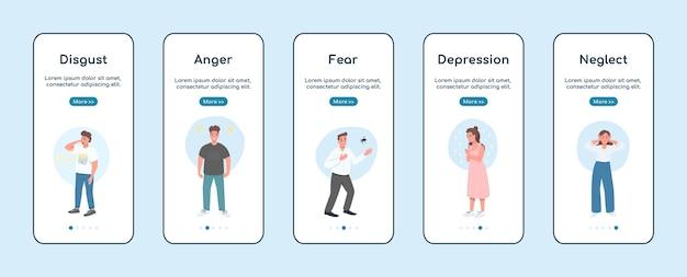 Emociones negativas incorporando la plantilla plana de la pantalla de la aplicación móvil. problema de salud mental. pasos del sitio web paso a paso con personajes. ux, ui, interfaz de dibujos animados de teléfono inteligente gui, conjunto de impresiones de casos