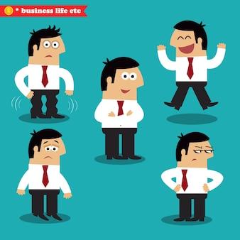 Emociones de oficina en poses