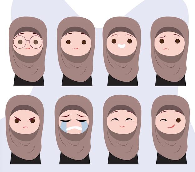 Emociones de personaje de niña musulmana