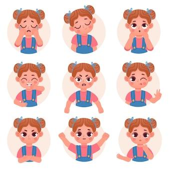Emociones y sentimientos faciales del avatar de la muchacha del niño lindo. el niño pequeño se enfrenta a emoji con un conjunto de vectores de expresión enojado, triste, feliz, conmocionado y de pregunta. ilustración niño emoción cara avatar, expresión facial