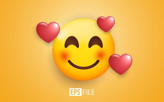 Emoji 3d muy apasionado con corazones 3d alrededor