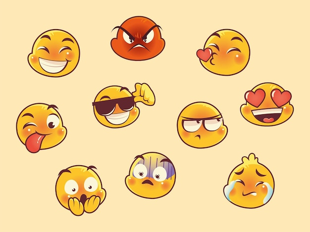 Emoji caras expresión reacción iconos de colección de redes sociales