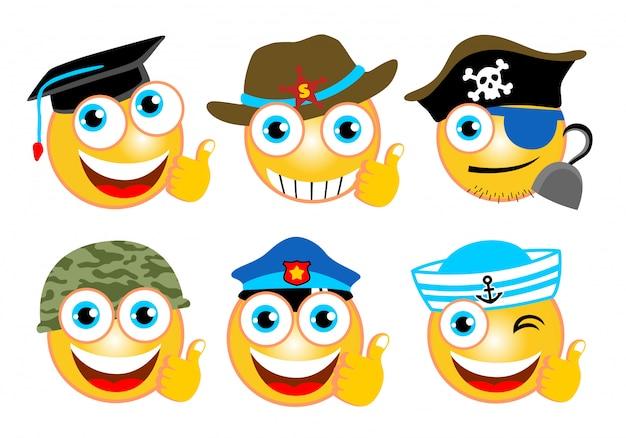Emoji conjunto de dibujos animados con diferentes gorras.