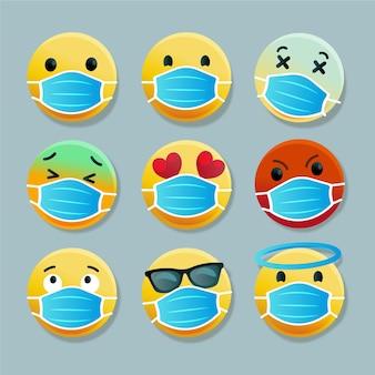 Emoji degradado con colección de mascarillas