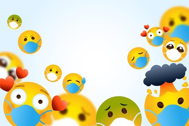 Emoji degradado con fondo de mascarilla