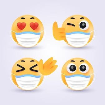 Emoji degradado con máscaras faciales