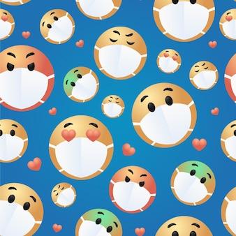 Emoji degradado con patrón de máscara facial