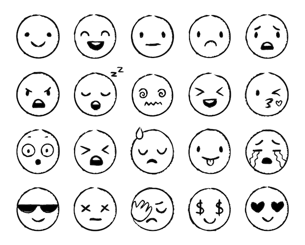 Emoji dibujados a mano. emoticonos de garabatos, bocetos de caras sonrientes y garabatos de emojis de pincel de tinta grunge