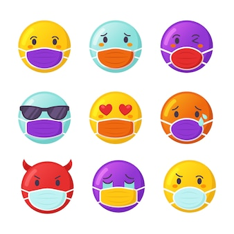 Emoji de dibujos animados con máscaras faciales
