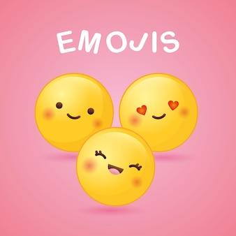 Emoji con diferentes sentimientos sobre fondo rosa. ilustración