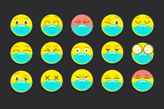 Emoji de diseño plano con máscaras faciales