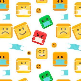 Emoji de diseño plano con patrón de máscara facial