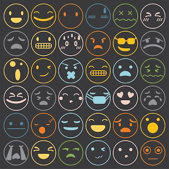 Emoji emoticons set cara expresión sentimientos colección