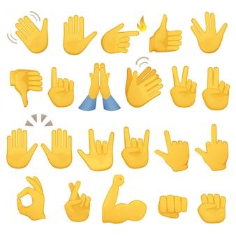 Emoji gestos iconos de mano