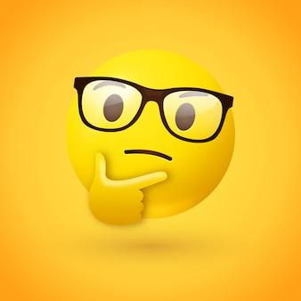 Emoji inteligente o nerd con cara de pensamiento