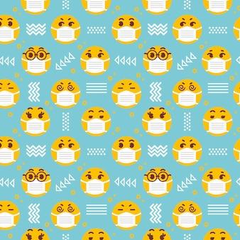 Emoji con patrón de máscara facial