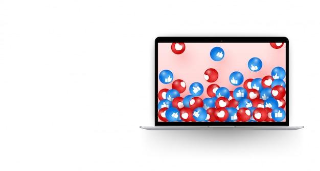 Emoji realista en la computadora portátil, ilustraciones de vectores de redes sociales. concepto de redes sociales - ilustración vectorial