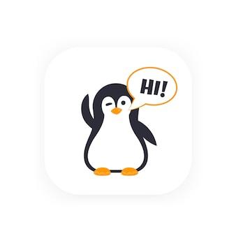 Emoji con saludo pinguin
