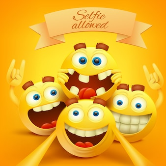 Emoji sonriente amarillo se enfrenta a personajes haciendo selfie.
