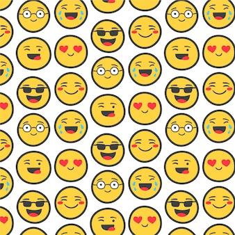 Emojis amarillos con plantilla de patrón transparente de contorno