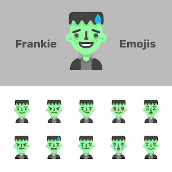 Emojis de halloween frankestein
