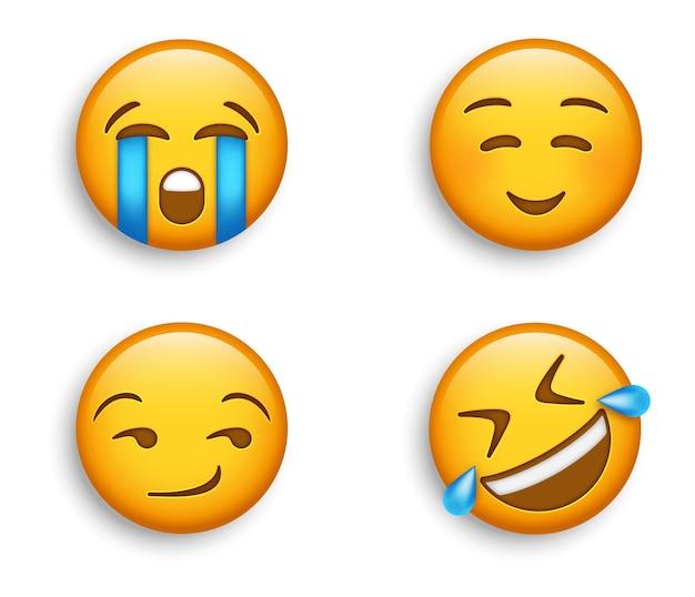 Emojis populares - cara llorando ruidosamente con emoji sonriente - rodando por el suelo y emoticón presumido y sonriente